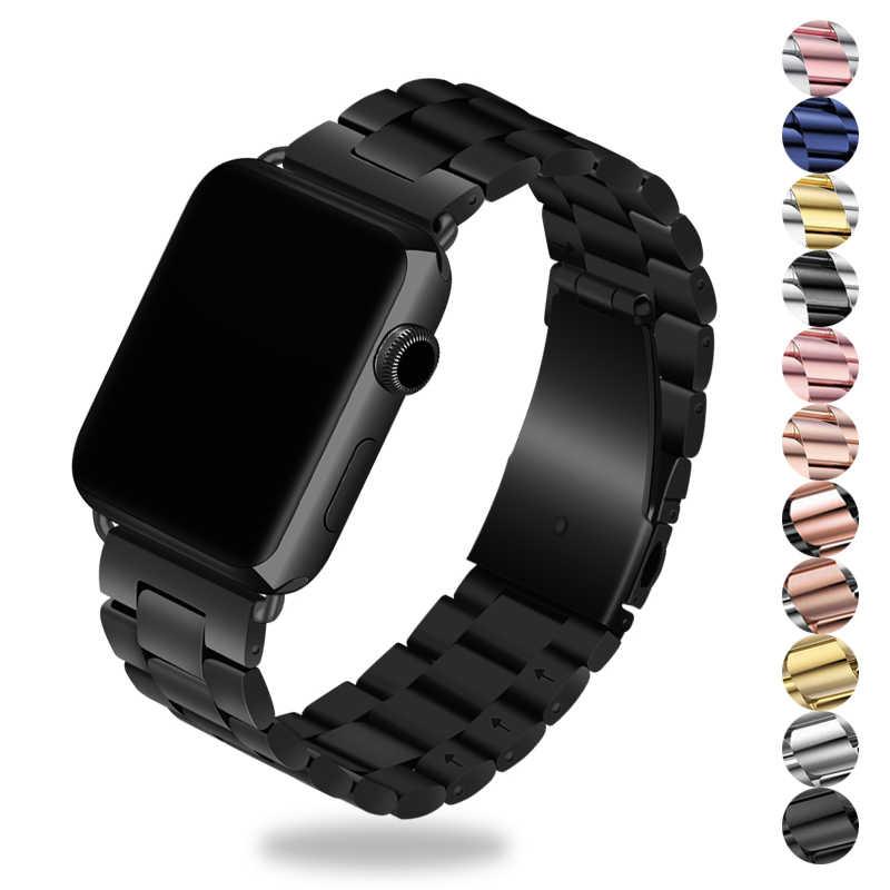 Correa de enlace para apple watch 4 5 correa de apple watch 42mm 38mm 44mm 40mm reloj pulsera de acero inoxidable 5/4/3/2/1 + herramienta