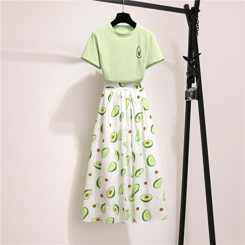 Two Piece Set Tracksuit Summer Preppy Cotton Green Short T-shirt + Green Long Skirt Sets Women Fashion Skirts Suits Plus Size