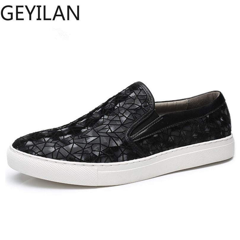 Haute qualité concepteur été automne hommes sans lacet baskets chaussures en daim cuir couture géométrie motif hommes mocassins chaussures - 2