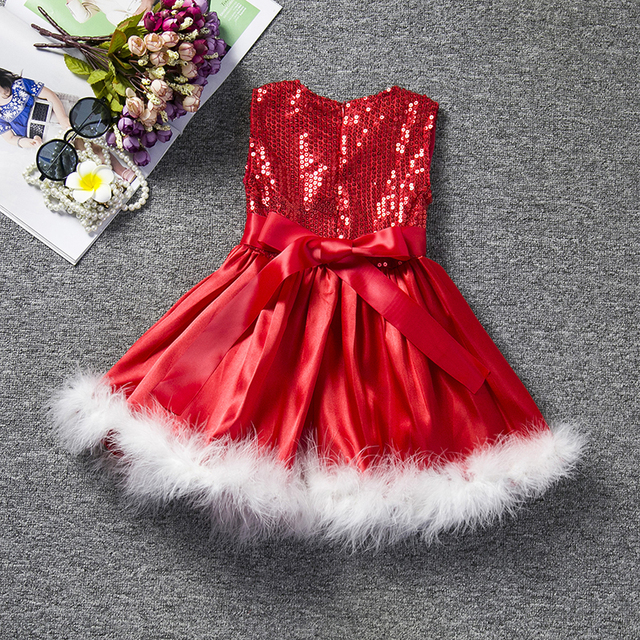 Red Christmas Dress Girl Costume Kids Dresses For Girls Baby Santa Clus Dress Up Children Party Xmas Gift Party Wear Clothes 8T 1