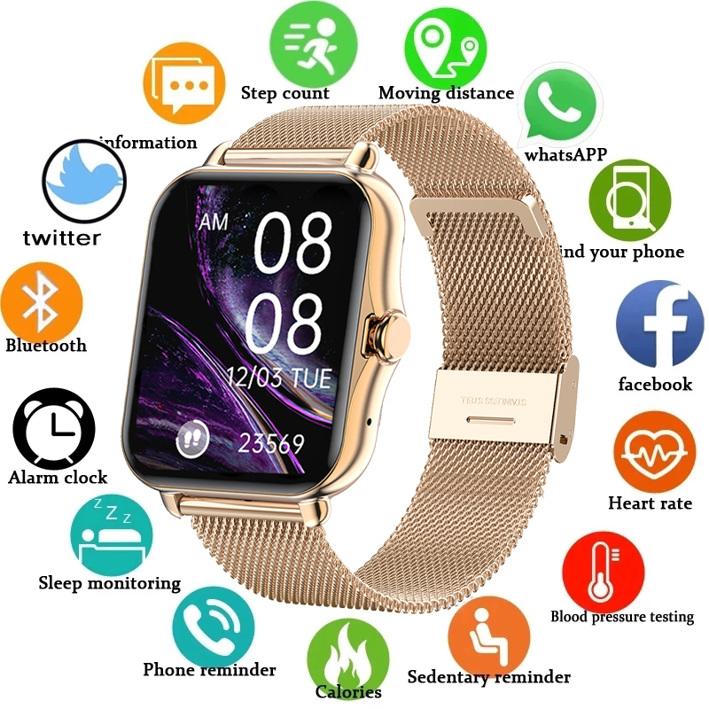 LIGE 2021 New Color Screen Smart watch Ladies men Full touch fitness tracker Blood pressure smart clock ladies smart watch+Box
