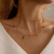 Tocona-collier ras du cou pour femmes, élégant, transparent, goutte d'eau, avec strass verts, multicouches, bijoux de perles, livraison directe, 14723