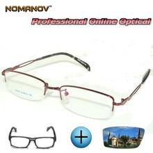 Custom Made Prescription Glasses Optical Photochromic Myopia Reading Hollow Temple Half-rim Frame Men Women