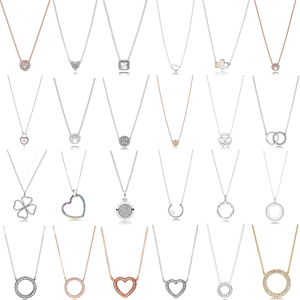 New 100% 925 Sterling Silver Round Heart-shaped Romantic With Clear CZ Simple Necklace For Women Original Fashion Jewelry Gift
