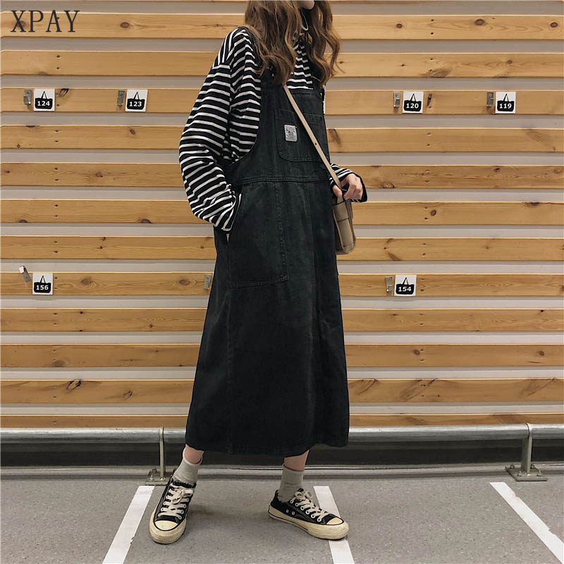 Vintage Women Dress 2020 New Summer Denim Strap Dresses Female Korean Students Loose Comfortable Popular Mid-Calf Graceful Dress