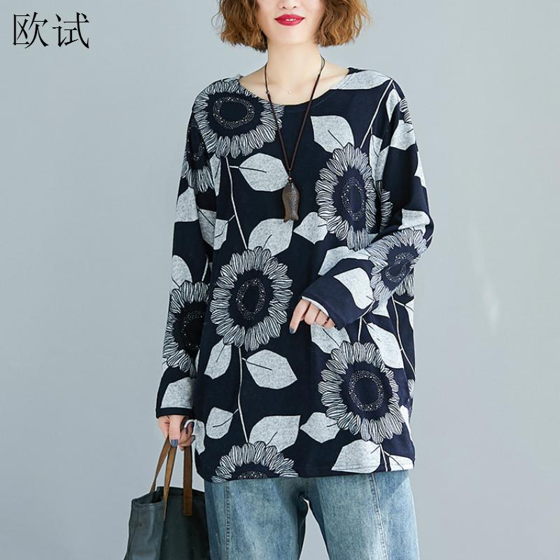 Plus Size Long Sleeve Fall T Shirt <font><b>Graphic</b></font> <font><b>Tees</b></font> <font><b>Women</b></font> Vintage Aesthetic Floral Tshirt Kintted T-shirt <font><b>Women</b></font> Clothes Tops <font><b>2019</b></font> image