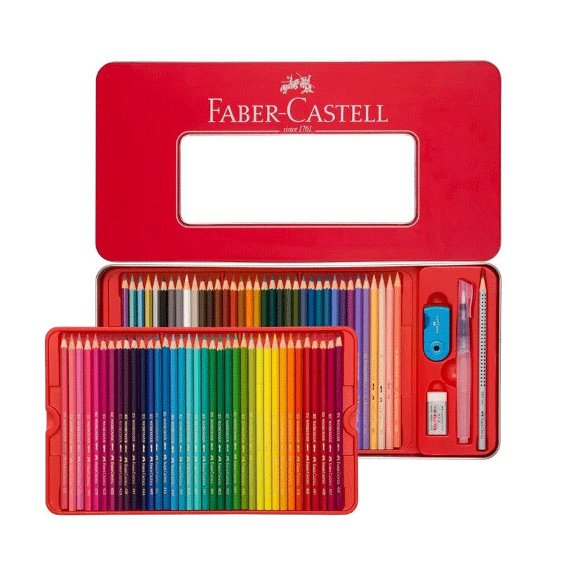 Germany Faber-Castell Faber-Castell 72-Color Water Soluble Color Lead 48 Color Water Soluble Colored Pencil Red Iron Box
