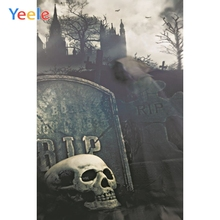 Halloween Photo Background Castle Skull Skeleton Tombstone Rip Custom Photocall Photography Backdrop Vinyl For Studio