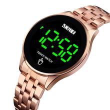 กีฬา SKMEI แบรนด์นาฬิกาผู้ชายนาฬิกาสแตนเลสสตีลนาฬิกาข้อมือผู้ชายจอแสดงผล LED นาฬิกาข้อมืออิเล็กทรอนิกส์