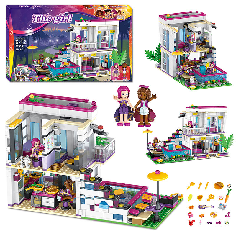 <font><b>10498</b></font> Friends Livi's Pop Star House Building Blocks Bricks Compatible lepinglys 41135 The Girl Birthday Educational Gifts toys image