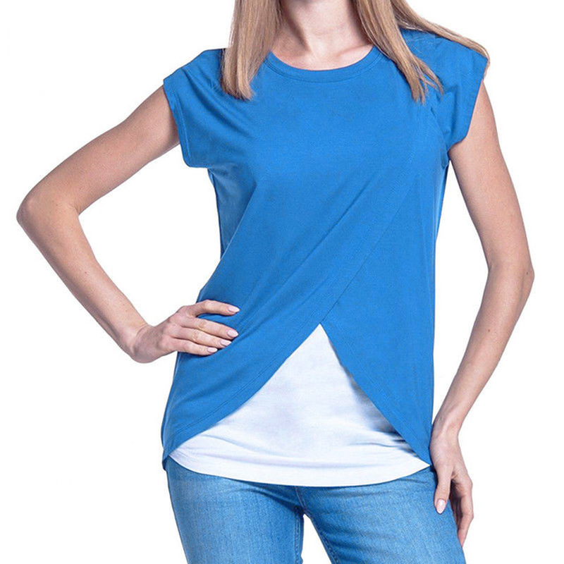 Nursing Top Women Summer Breastfeeding Loose Casual T Shirt Double Layer Feeding Maternity Pregnancy Clothes Plus Size S 3XL in Tees from Mother Kids