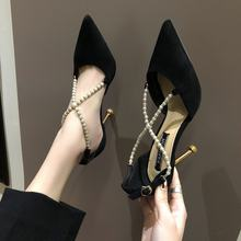 2019 spring new high heel stiletto pointed single shoes wild temperament women's shoes pearl buckle hollow female sandals(China)