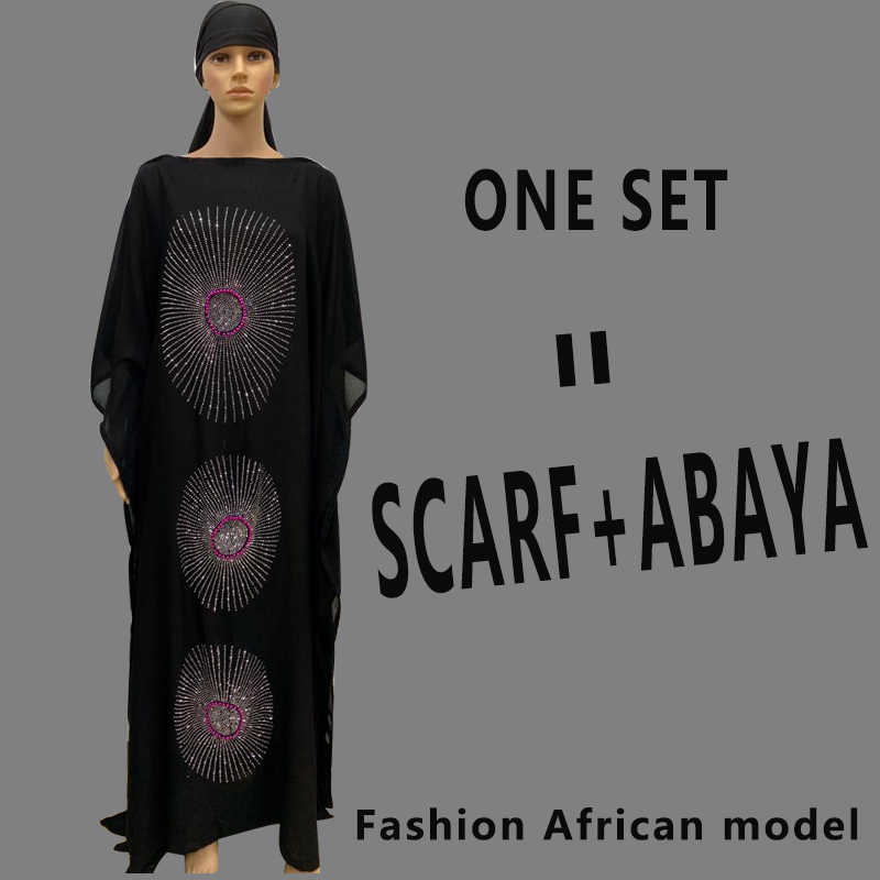 האופנה אפריקה סגנון העבאיה ארוך דאשיקי יהלומים ופרח בגדים שחור שמלה עם צעיף רופף גלימה מוסלמית הגדולה באפריקה ליידי