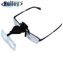 Loupe à Clip pour lunettes 1.5X 2.5X 3.5X, mains libres, tête avec lumière LED et 3 lentilles en plastique réglables pour réparation