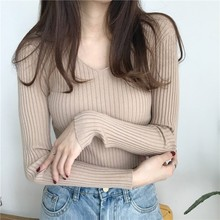 Fashion Autumn Sweater Women Casual Slim V-Neck Bottoming Sweaters Solid Color Winter Basic Tops Wild Long Sleeve Pullover цена и фото