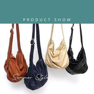 Image 2 - CEZIRA Big Soft Casual Women Bags Girl Wash PU Leather School Handbag Ladies Adjustable Woven Buckle Belt Messenger&Shoulder Bag
