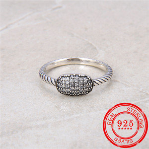 Image 1 - 100% Sterling Silver 925 Ring Inlaid Zircon Retro Silver Open Ring Lady Wedding Gift Fashion Jewelry