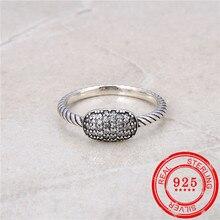100% Sterling Zilver 925 Ring Ingelegd Zirkoon Retro Zilveren Open Ring Lady Wedding Gift Mode sieraden