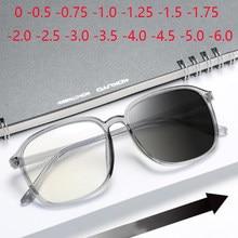 Con marco grande gafas graduadas para miopía mujeres hombres ultraligero gris transparente PC anteojos recetados 0-0,5-1,0-1,5-6,0
