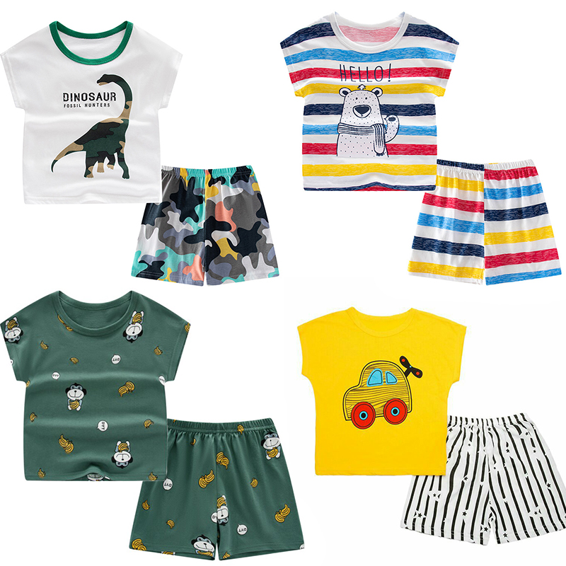 Children's Pajamas Kids Boys Clothes Sleepwear Set Toddler Homewear Cartoon Nightwear Summer Pyjamas Short Sleeve Girls Clothes 1