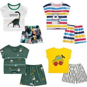 Boys Nightwear Pyjamas Short-Sleeve Toddler Kids Cartoon Sleepwear-Set Girls Summer