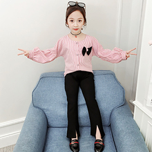 2Pcs Long Sleeve Striped T-shirt Flare Pants Kids Clothing Suit Children Girls Clothes Suits Spring Autumn Girl Clothing Sets цена 2017