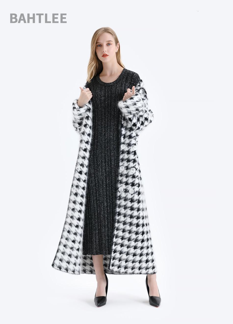 BAHTLEE Women Angora Long Coat Houndstooth Pattern Sweater Winter Wool Knitted Cardigans Jumper Turn Down Collar Long Sleeves 10