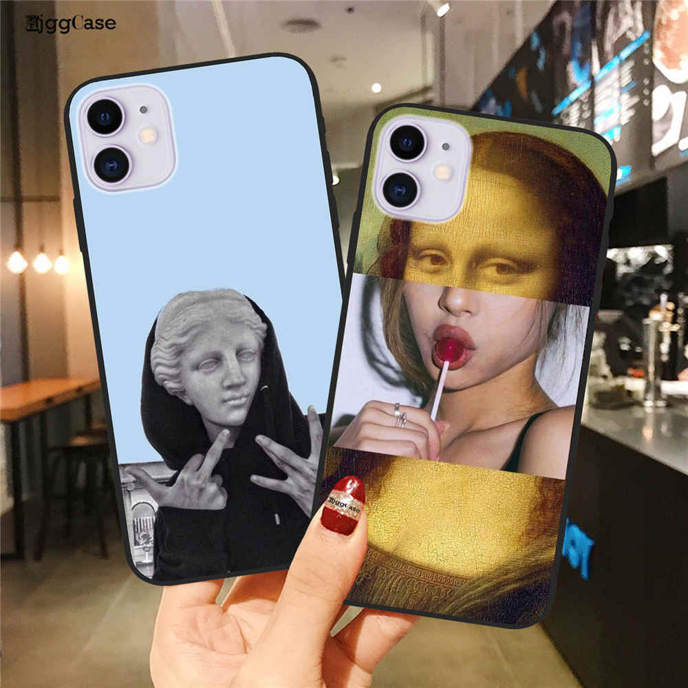 Hjggcase For iPhone 11 Pro Max 6 6s 7 8 Plus X XR XS Max 5 5s SE Phone Case Cartoon Statue Abstract Art Painted Soft TPU Shell