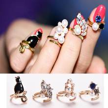 Women Fashion Rings Cat Pearl Zircon Nail Rings Set 4PCS/Set Chic Knuckle Rings(China)
