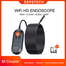 DEPSTECH 2.0MP 5.0MP WiFi Endoscope HD Inspection Camera Wireless Snake Camera 6 LED Borescope for Android & iOS