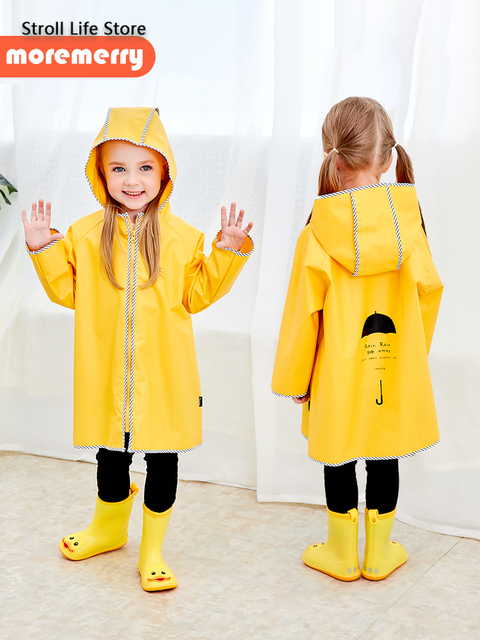 Cute Yellow Raincoat Kids Waterproof Rain Poncho Rain Coat Plastic Suit School Thick Boys Rain Jacket Cover Impermeable Gift 1