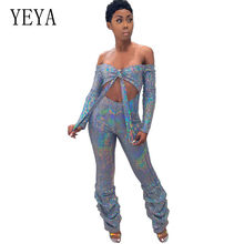 YEYA Hollow Out Sequin Sexy Jumpsuit Elegant Strikje Off Shoulder Lange Mouwen Bodycon Speelpakje Vrouwen Glitter Club Party Overalls(China)