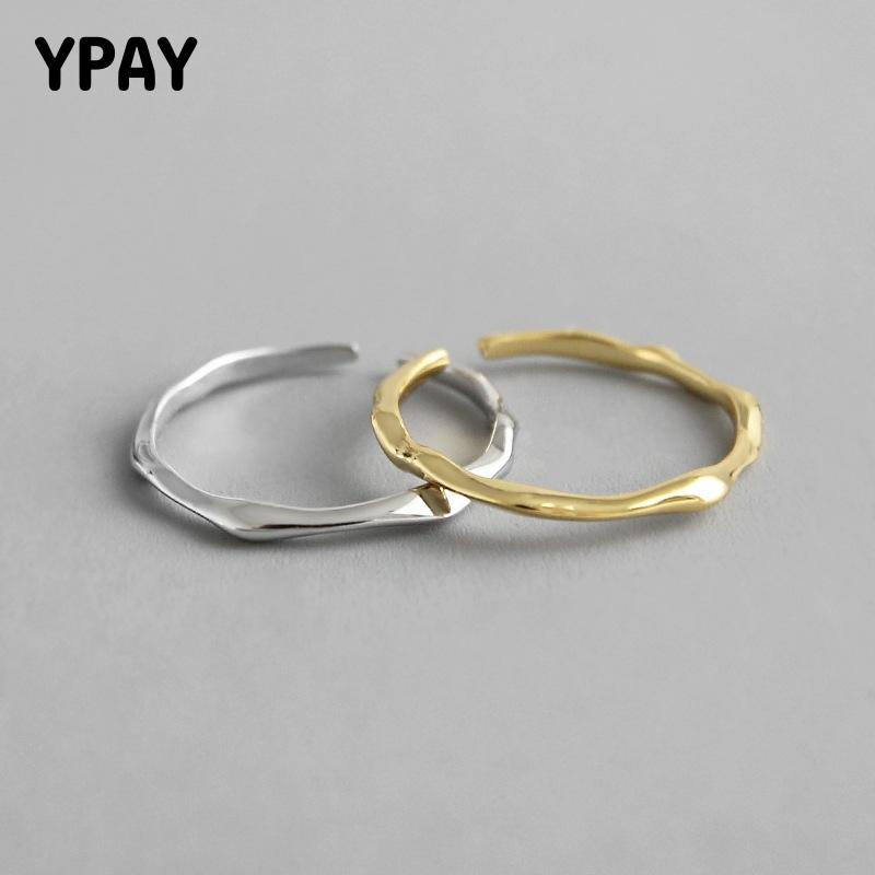 YPAY Genuine 925 Sterling Silver Open Rings INS Cool Minimalist Finger Ring For Women Statement Adjustable Thin Jewelry YMR650