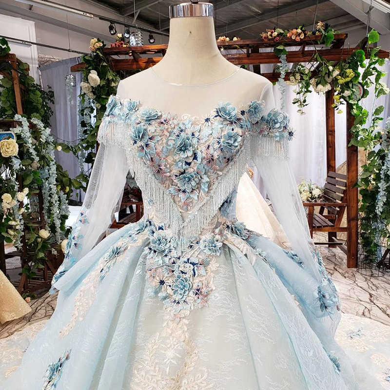 HTL750 אלגנטי שמלת ערב עם כחול אפליקציות פרחי o-צוואר תחרה עד בחזרה ארוך פורמליות שמלת נשים robe soiree מאנש לונג
