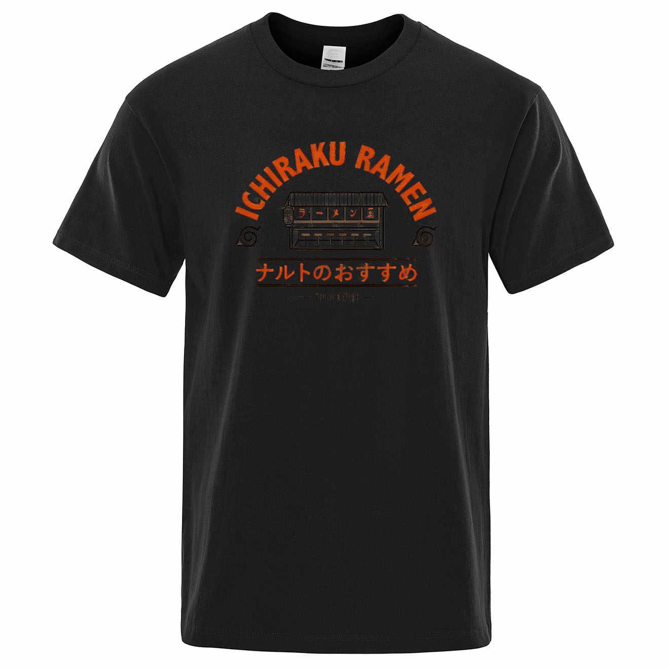 Ichiraku Ramen mężczyzna T koszula Naruto koszulka męska Tshirt Ninja topy śmieszne koszulki Ajax odzież japonia Anime Harajuku Streetwear