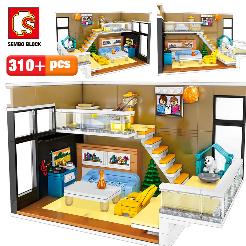 SEMBO 310pcs Creative Nordic House Model Building Blocks City Street View Restaurant Figures DIY Bricks Gift Toys For Girl