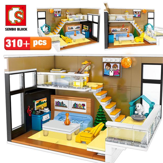 SEMBO 310pcs Creative Nordic House Model Building Blocks City Street View Restaurant Figures DIY Bricks Gift Toys For Girl