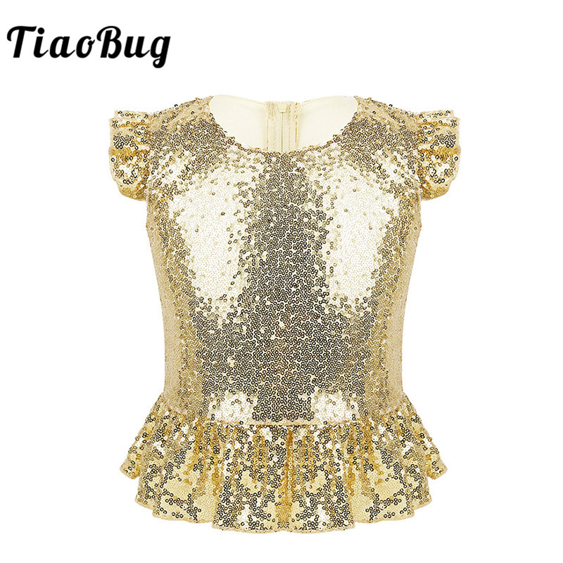 TiaoBug Kids Girls Sparkly Sequins Short Flutter Sleeves Tops Carnival Birthday Party Jazz Dance Performance Mermaid Costume