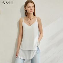 AMII Minimalism Spring Summer Fashion Spliced Women Tank Tops
