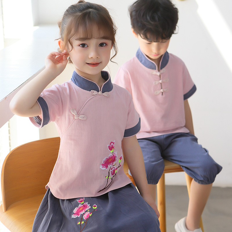 New Style Summer Wear Kindergarten Suit Chinese Costume Chinese Clothing Young STUDENT'S School Uniform Children Business Attire