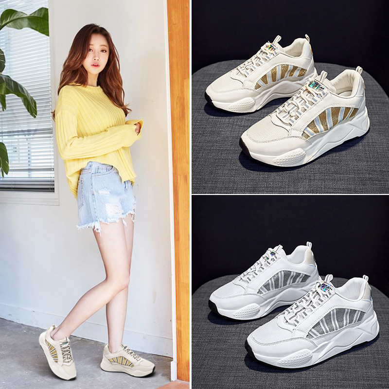 Ozhouzhan Dad Shoes Women's INS Fashion 2019 Summer New Style Mesh Platform Shoes Women's Thick Bottomed Extra High Casual Sport