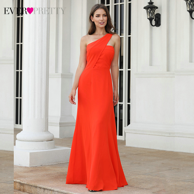 Simple Christmas Prom Dresses Ever Pretty A Line One Shoulder Sleeveless Elegant Chiffon Party Gowns Vestido Largo Fiesta 2020Prom Dresses   -
