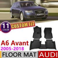 Tapis de sol en cuir de voiture sur mesure pour Audi A6 Avant Wagon Estate C6 C7 4F 4G 2005 ~ 2018 5 sièges Auto tapis de protection des pieds accessoires 2010