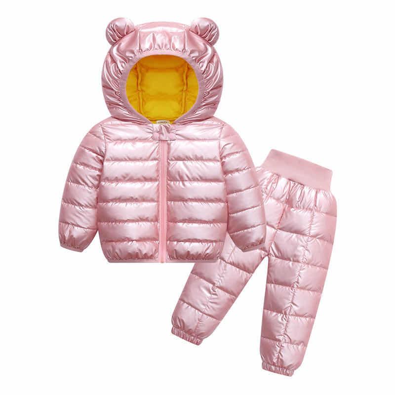 Toddler Winter Baby Girls Boys Clothing Sets Warm Faux Down Jacket Clothes Sets Children Kids Snowsuit Coats Vest Pants Overalls 6