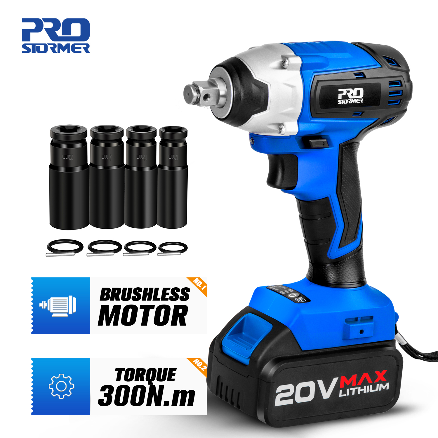 300NM Burshless Cordless Impact Wrench 20V Torque Socket Wrench  4000mAh Lithium-Ion Battery Power Tool By PROSTORMER