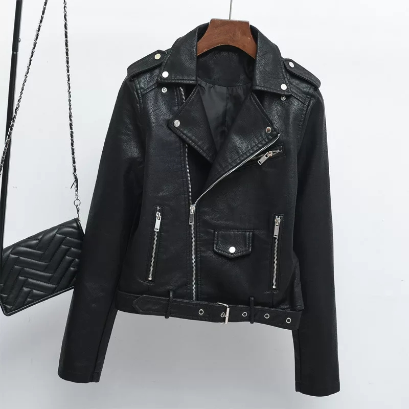 2019 autumn new women's   leather   jacket Korean version of the self-cultivation motorcycle models ladies   leather   jacket fashion