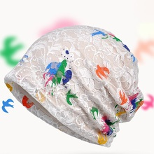 Thin Lace Color Spring Summer Paint Pattern Headgear lady Korean Fashion Hat
