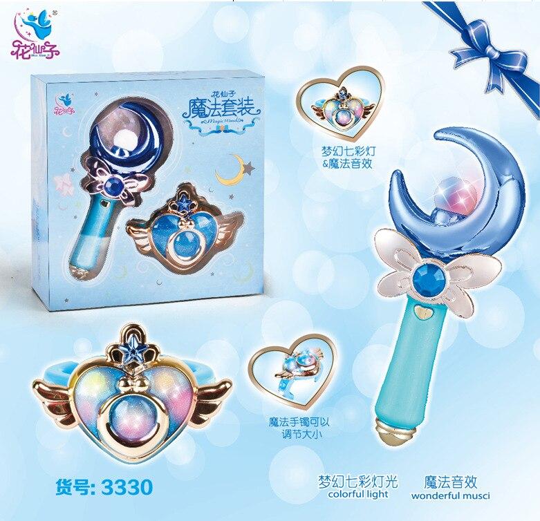 Аниме Сейлор Мун карта Captor Sakura фигурка детей волшебная палочка светящаяся Фея Красочный легкий стержень музыкальные игрушки с коробкой - Цвет: 3330 Blue