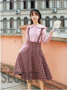 Image 3 - 2019 Autumn Women Two piece set Casual Long Sleeve Cotton Shirt Tops + Long Plaid Skirts Womens Suit Set 2 Piece Set Women