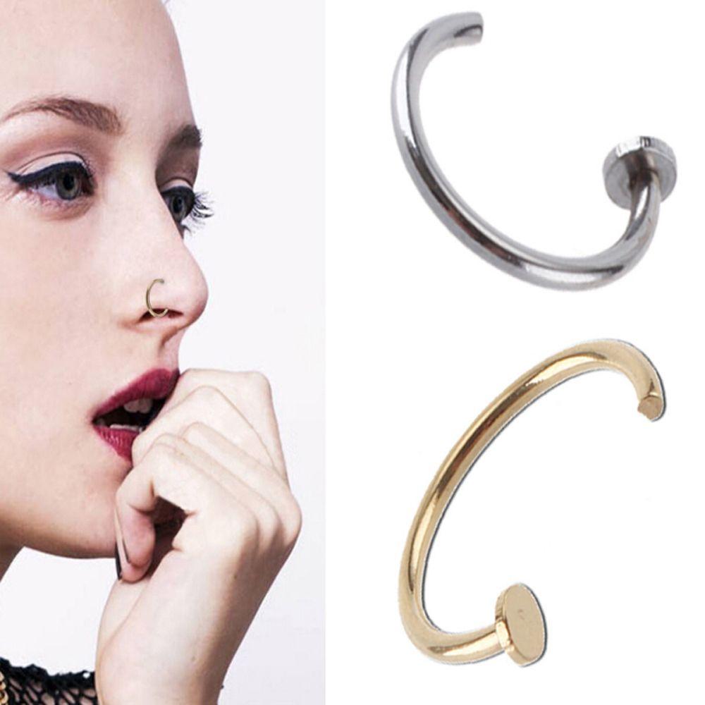 3pcs Fashion Charming Unisex 8mm Fake Titanium Nose Ring Piercing